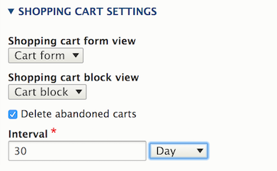 Cart settings (order type)