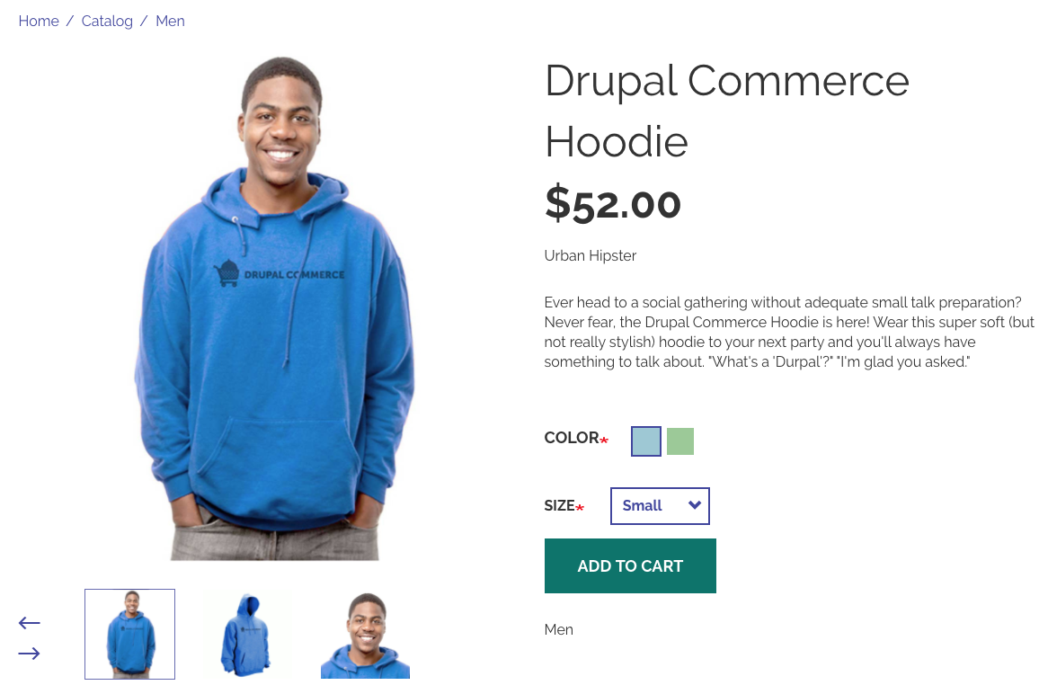 Demo product page for a Drupal Commerce Hoodie.
