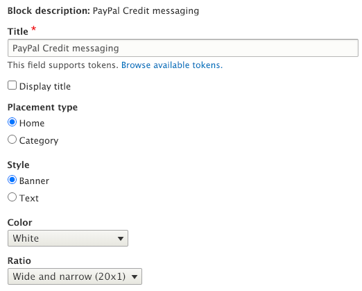 paypal credit messaging block settings