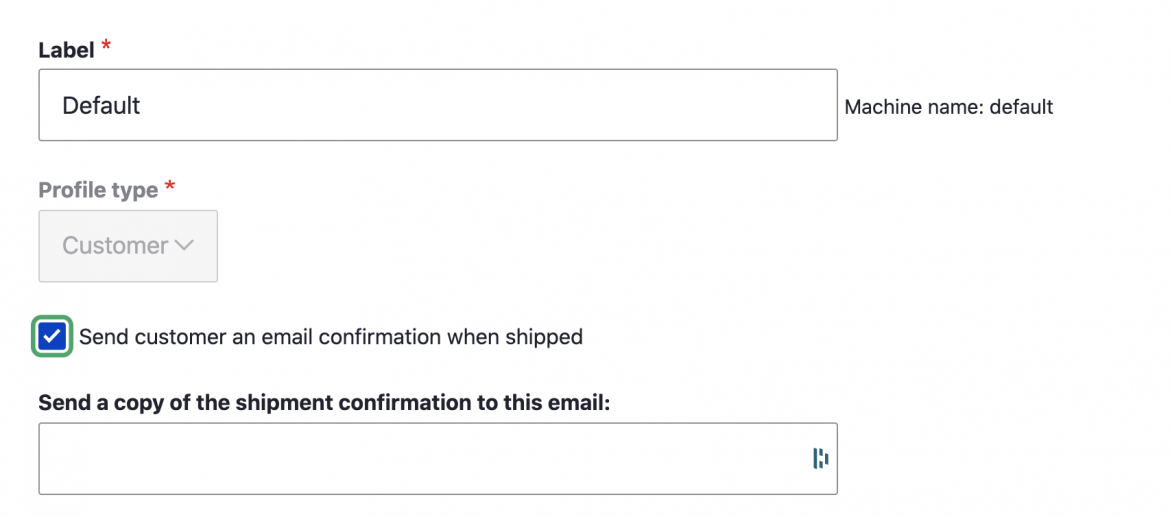 Shipment confirmation email setting